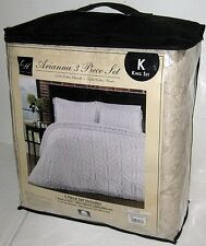 NEW ARIANNA KING SIZE BEDSPREAD WITH SHAMS Ivory Cream Blanket Comforter