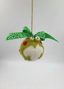 Needle Felted ball Christmas ornament frog 3D effect Handmade 3in