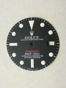 ~Vintage Rolex #1680RED Submariner Matte Black Repaired Dial~