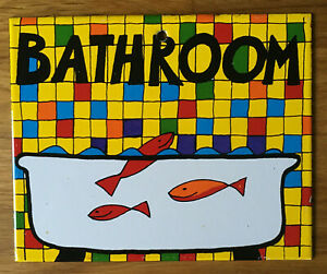 BATHROOM fishes porcelain enamel sign