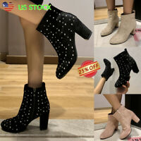 Women Rhinestone Ankle Boots High Block Heel Pointed Toe Zipper Shoes Booties US