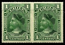 CHILE, 1 CENT, ROULETED PAIR, YEAR 1900, MINT NEVER HINGED, COLUMBUS (3)