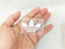 White adidas flora sticker iron on sport logo velvet & glue patch 5 X 3.5 cm DIY