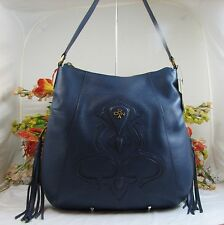 Gorgeous ORYANY Large Blue Pebbled Leather Shoulder Bag With Dual Tassels NWT