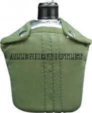2 Pc Military Style 32 oz. ALUMINUM CANTEEN + 1 Quart 1QT Cover w CLIPS #422 NEW