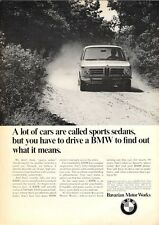 "1969 BMW Bavaria Motor Works Sports Sedan ""...What it Means.""  PRINT AD"