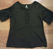 WOMENS BROWN BLOUSE OLD NAVY COTTON BLEND FLARE SLEEVE BUTTON FRNT SIZE XL (C1)