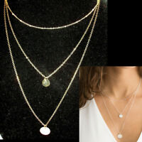 Lariat Necklace Choker Coin Drop Beaded Layer Chains Silver Gold Simple Dainty