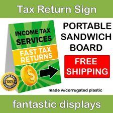 """Portable INCOME TAX Sign 18"""" x 24"""" Corrugated Plastic A-Frame Sandwich Board"""