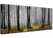 Yellow and Grey Forest Woodland Trees Living Room Canvas Art - 1384 - 120cm