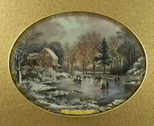 Currier & Ives Christmas EARLY WINTER Plate Oval #1 Skaters Skating Bradford Ex