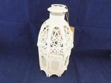 Cream Painted Metal Candle Lantern with Plain Glass Panels.
