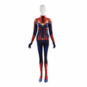 Carol Danvers Captain Marvel Cosplay Costume Women Halloween Party Bodysuit