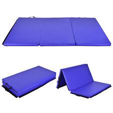 6' x 4' Tri-Fold Gymnastics Mat Thick Folding Panel Gym Fitness Exercise Blue