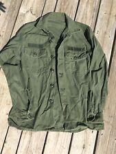 Vintage Vietnam War Era US Navy Sateen Cotton Fatigue Shirt OG 107
