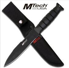 "MT-575 M-TECH USA 10.5"" 440 SS REVERSE FIXED BLADE + BLACK RUBBER HANDLE +SHEATH"