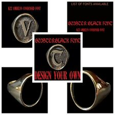 Bronze Single Oval Initial Letter Ring Custom size Free Shipping handmade