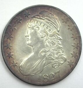 1827 CAPPED BUST SILVER 50 CENTS CHOICE UNCIRCULATED NICE TONING!!