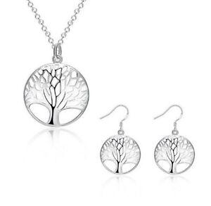 Silber plattiert Lebensbaum Schmuckset Ohrringe Kette Anhänger Baum des Lebens