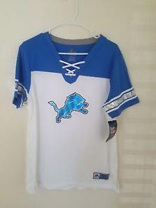 New NFL Women's Majestic White-Blue Detroit Lions Lace-Up V-Neck Jersey Shirt