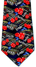 Lucky 7 Craps Mens Neck Tie Casino Blue Necktie Gambling Las Vegas Gaming New