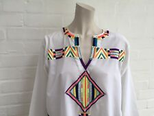 ANOUK GREWAL Hand Embroidered Beaded COVER UP Kaftan Tunic Dress Sz S Small