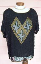 BEADED Top Sz 1X BLACK Gold Silver Copper Dressy Blouse Side Slits at Hem PRETTY