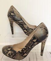 Faith High Heel Shoes UK Size 4 Eu Size 37 Snake Print Brown Beige Round Toe