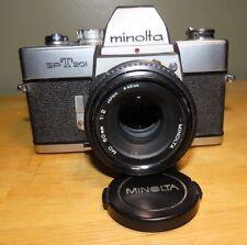 Minolta Srt-201 35mm Slr Film Camera 50mm Lens, Some Accessories. Nice Used