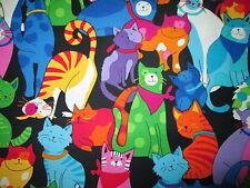 MOD CATS BANDANAS BRIGHT HAPPY CAT COTTON FABRIC BTHY