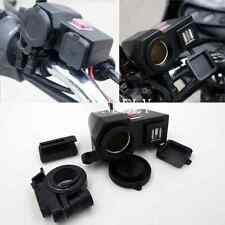 Weatherproof Motorcycle 12V 5V Cigarette Lighter 2 USB Power Port Outlet Socket