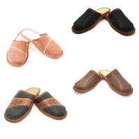 Mens Leather Slippers Slip On Shoes Size 6 7 8 9 10 11 12 UK Brown Black Mules