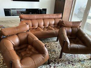 RARE- Brazilian leather Percival Lafer MP-81.  3pc Set. Sofa and 2 chairs