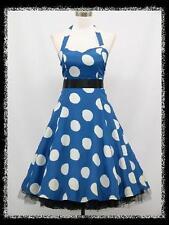 dress190 BLUE & WHITE LARGE POLKA DOT 50s ROCKABILLY PARTY VINTAGE DRESS 20-22