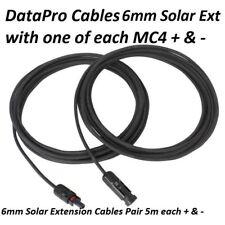 Panel Solar De 6 mm 2 X Cable de extensiones 5 M Con Conectores MC4 para Caravana Barco
