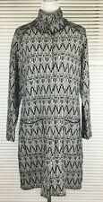 "BLUE ILLUSION Sz M Jacquard Knit Coat ""Geometric Jacqua"" 100%Wool Monochrome NWT"