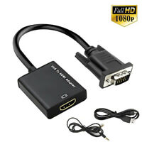 for TV PC Male to Female 1080P with Audio VGA To HDMI Cable Converter Adapter UK