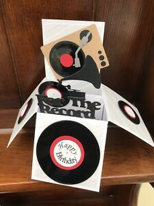 record themed pop up card