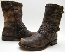 WOMENS FRYE BROWN DISTRESSED LEATHER STUDDED ENGINEER SHORT BIKER BOOTS SZ 7 B