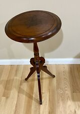 """Antique Wood Decorative Pedestal Accent Table. Carved Leaf.Plant Stand. 31"""" Tall"""
