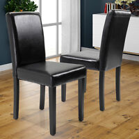 Set of 2 Elegant Modern Design Dining Chairs Home Room  Black  Leather Chair