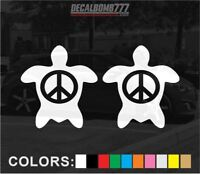 Set of 2 Turtle Peace Decals Stickers Turbo Truck Kayak Diesel Car Sea Creature