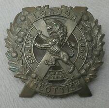Strike Sure -14th County of London Battalion (London Scottish) Army Hat Badge