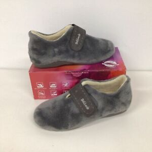 De Valverde Botin Grey Fur Strapped Slipper Shoe SIZE 40 #209