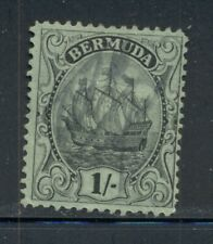 BERMUDA 92 SG87 Used 1927 1sh blk/emerald Caravel Wmk Mult Script CA Cat$11