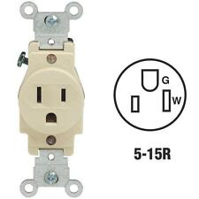 10-Leviton 15A Ivory 2 Pole 3 Wire Heavy-Duty 5-15R Single Electric Outlet 5088I