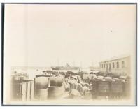Algérie, Alger (الجزائر ), Le Port  Vintage citrate print.  Tirage citrate