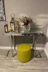 Stainless Steel Legs Mirrored Console Table Sparkly Silver Diamond Crush Crystal