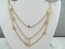 NWT MONET GOLD & CRYSTAL MULTI-CHAIN STATEMENT NECKLACE, Mother of Pearl look