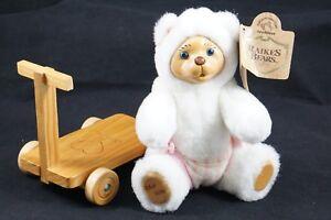 Robert Raikes Mitzi Nursery Jointed Baby Bear & Wood Scooter White Pink Wood